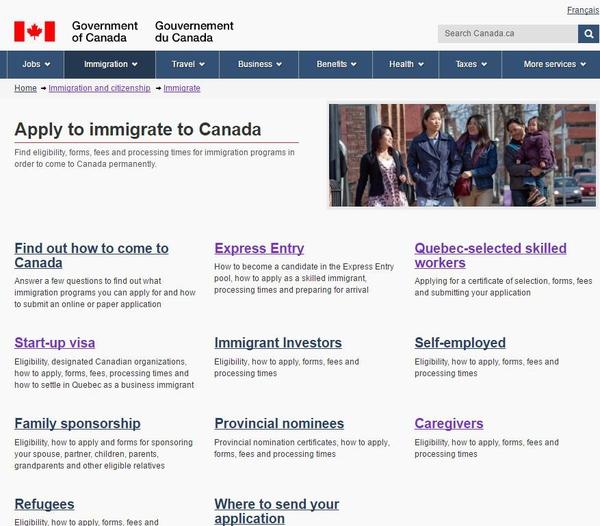 加拿大移民局官网